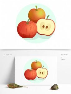 秋天秋收苹果水果丰收获果实平安夜小清新