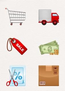 购物交易卡通图标设计