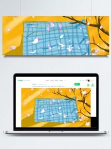 秋季唯美花瓣格子垫布背景素材