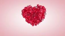 心花瓣汇聚成心花瓣红色背景视频素材