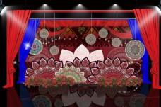 红色民族风婚礼迎宾区效果图