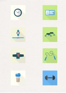 8款健身用品图标矢量图