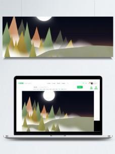 扁平化夜间森林背景素材