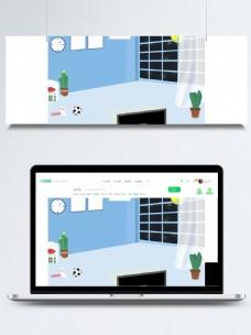 微立体家居足球窗台背景素材