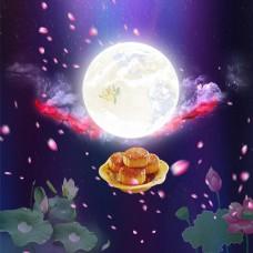 夜色中秋佳节背景