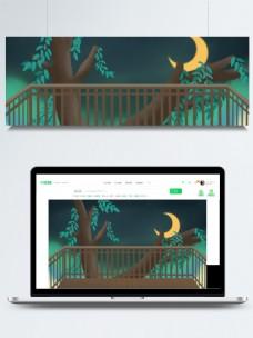 简约家居阳台外的大树月光背景素材