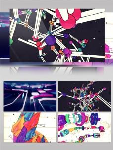 栏目包装水彩三维动画空间动感dj背景