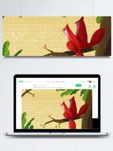 彩绘秋季主题树上松鼠背景素材