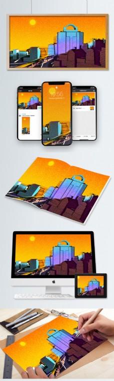 午夜之城城市夜景立体插画背景配图渐变描边