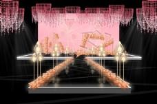 粉色几何婚礼效果图