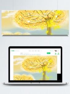 彩绘秋季大树落叶背景素材