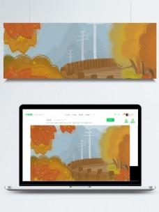 彩绘秋季枫叶背景素材
