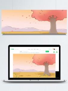 彩绘秋天你好大树落叶背景素材