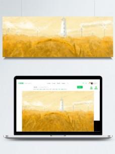 彩绘秋季麦穗背景素材