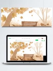 你好秋天枫树林长椅背景素材