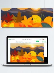 秋季枫叶银杏落叶背景素材