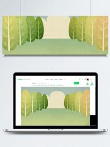 扁平化清新树林背景素材