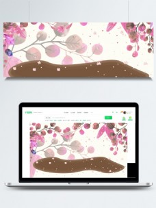 唯美粉色树叶banner背景素材