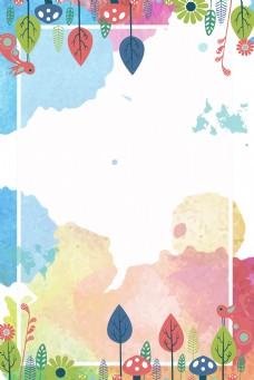 彩绘树叶边框背景