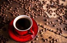 咖啡木板茶杯粮食食物咖啡豆