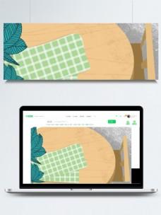 清新木桌子俯视图插画背景
