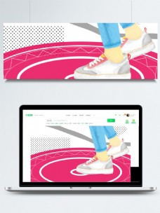 清新手绘帆布鞋鞋子海报背景设计