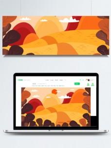 秋分秋天日出枫叶枫树林卡通背景