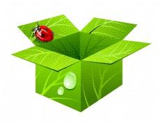 清新绿色纸盒瓢虫元素