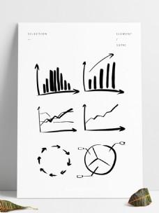 商业场景柱状图折线图饼图手绘线条活泼图表
