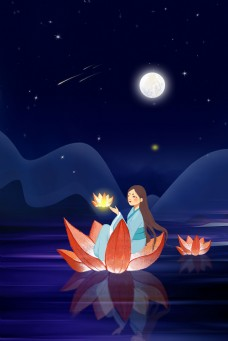 蓝色唯美手绘坐在莲花灯的少女背景