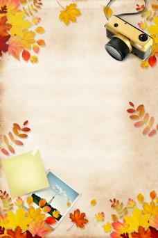 秋天枫叶落叶促销海报