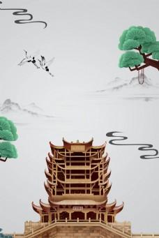 黄鹤楼重阳节祭祀灰色广告背景