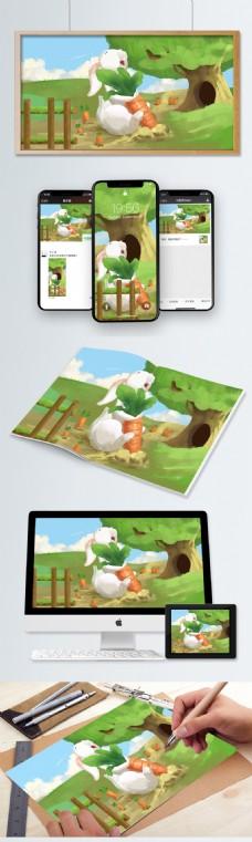 萌宠小兔子田园里拔萝卜