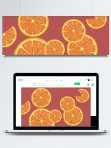 橙子片红色背景