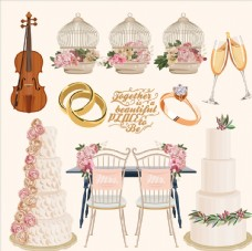 唯美的结婚用品插画