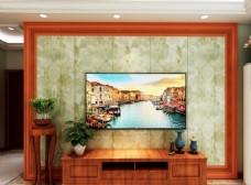 简约美式客厅电视背景墙效果