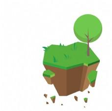 绿色植物2.5D小山坡风景