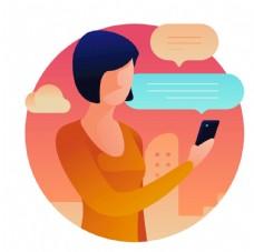 创意扁平散步手机聊天