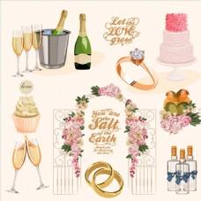 浪漫结婚用品插画
