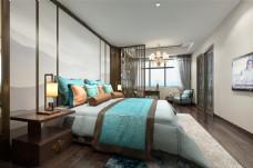新中式意境卧室效果图
