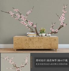 中式水墨山水梅花山水电视背景墙