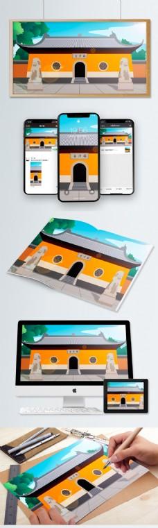 中国风历史建筑国清寺