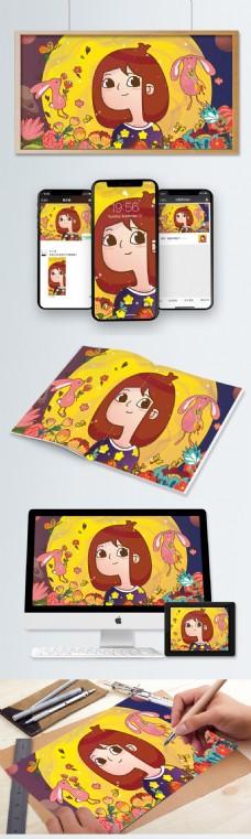 十二星座处女座卡通可爱少女美式兔星球植物