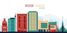 矢量彩色城市建筑博伊西