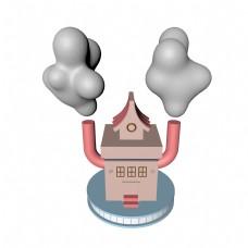 电商主题卡通书元素之房子