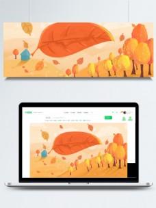 清新美丽手绘森林广告背景