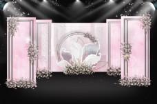 水彩裸粉色婚礼迎宾区通道效果图