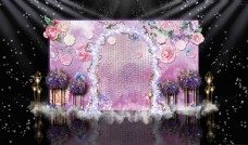 紫色梦幻星空主题婚礼迎宾区效果图