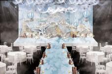蓝色优雅线条欧式婚礼工装效果图