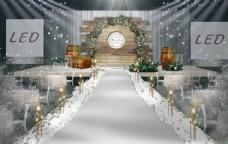 森系白绿婚礼手绘效果图